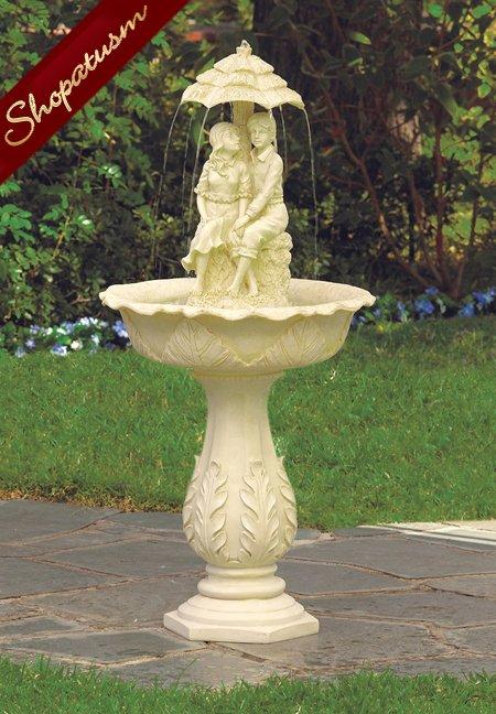 Lovers Rain Pedestal Fountain, Couple Garden Fountain, Romantic Fountain