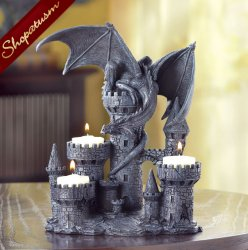 12 Centerpieces Medieval Dragon and Castle Tealight Candle Holder