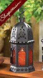 10 Moroccan Amber Glass Candle Lanterns Centerpieces Bulk Lot