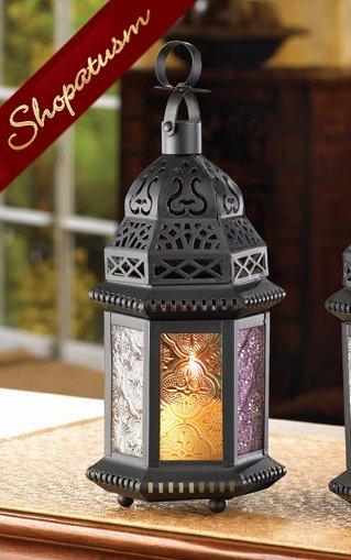 Moroccan Candle Holder Black Lantern Rainbow Centerpiece
