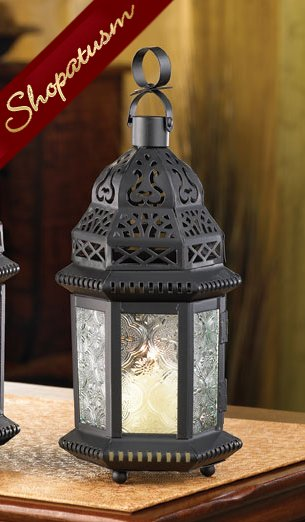 Moroccan Candle Holder Black Lantern Winter Fire Centerpiece