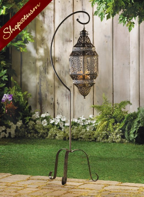 Large Moroccan Hanging Candle Lantern Lamp with Stand