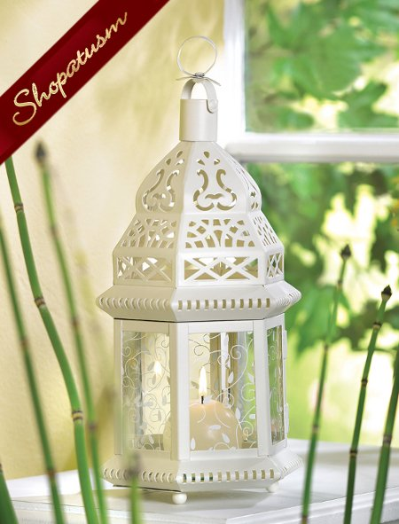 Moroccan Lacy Ivory Hexagonal Hurricane Candle Lantern