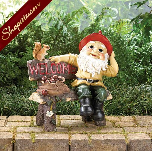 Outdoor Garden Gnome Greeting Welcome Sign
