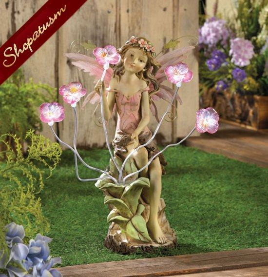 Peony Fairy Solar Powered Garden Yard Statue