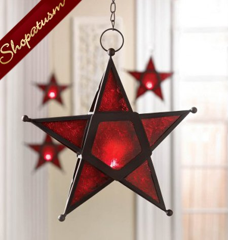 Red Glass Star Hanging Candle Lantern