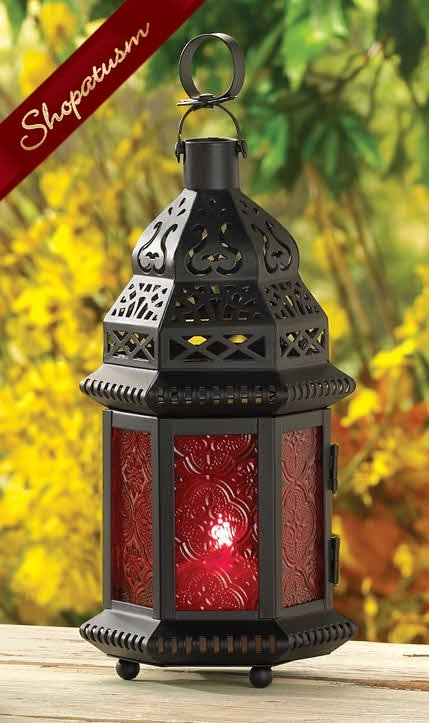 Red Table Hanging Moroccan Wedding Candle Lantern