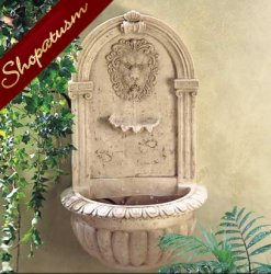 Lion Wall Fountain Roman Garden Fountains Indoor Outdoor With Water Pump