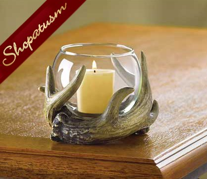 60 Centerpieces Antler Wreath Votive Candle Holder Rustic Glass Globe