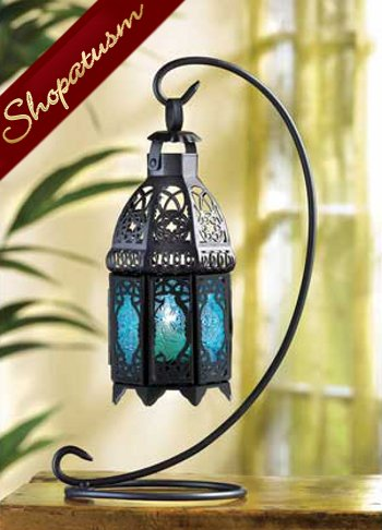 Sapphire Blue Hanging Moroccan Candle Lantern Centerpiece