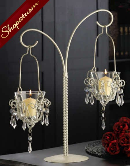 12 Shabby Crystal Bead Chandelier Wedding Centerpieces