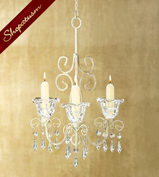 Shabby Scrollwork Design Candlelight Crystalline Drops Chandelier