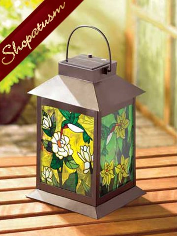 Image 0 of Solar Powered Stained Glass Garden Outdoor Lantern