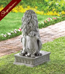 Stone Look Carved Regal Lion Crested Shield Garden Statue