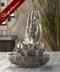 Hand of Buddha Faux Stone Hand Serenity Fountain