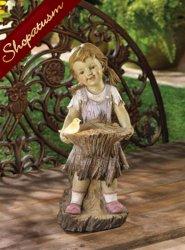 Sweet Summertime Girl Solar Light Garden Yard Statue