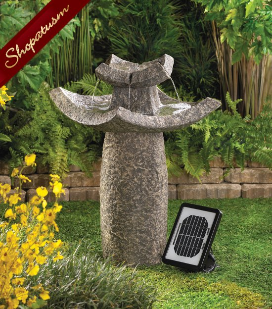 Temple Solar Fountain, Temple Pedestal Garden Fountain, Asian Temple ...