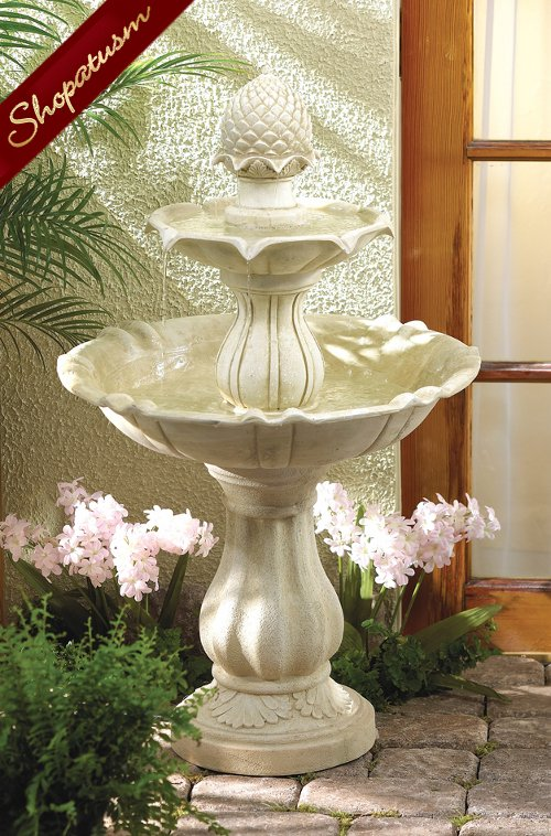 3 Tier Acorn Fountain, Acorn Pedestal Fountain, Resin Acorn Garden Fountain
