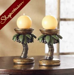 Centerpieces Tropical Palm Tree Candle Holders Pair