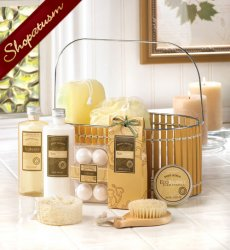 Spa Gift Basket, Bath & Shower Gift Set, Warm Vanilla Bath Set, Bamboo Basket