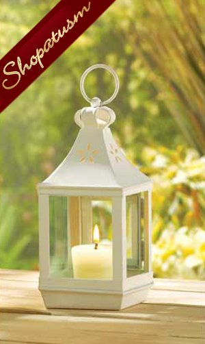 10 Small Wedding White Classic Cutwork Hanging Garden Lantern
