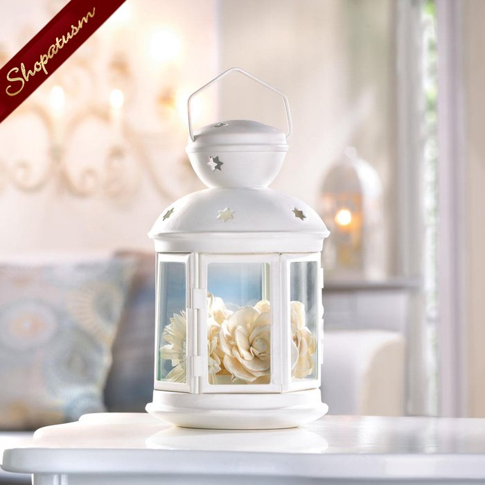 White Colonial Candle Lantern Lamp Centerpiece