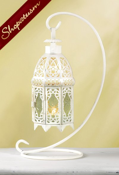 24 Wholesale Moroccan Wedding White Hanging Glass Lanterns with Stand