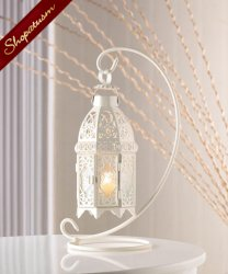 Hanging White Moroccan Glass Lantern with Stand