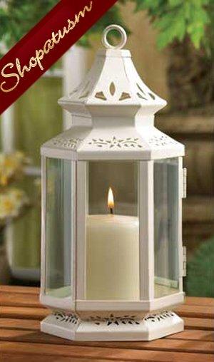 White Victorian Garden Candle Lantern Centerpiece Med