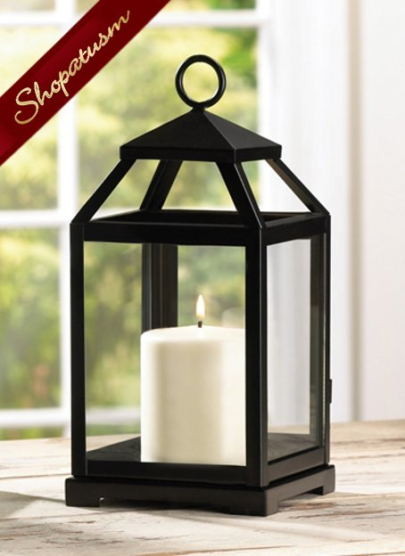 Black Contemporary Square Candle Lantern Centerpiece