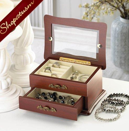 Window Wood Jewelry Keepsake Organizer Box
