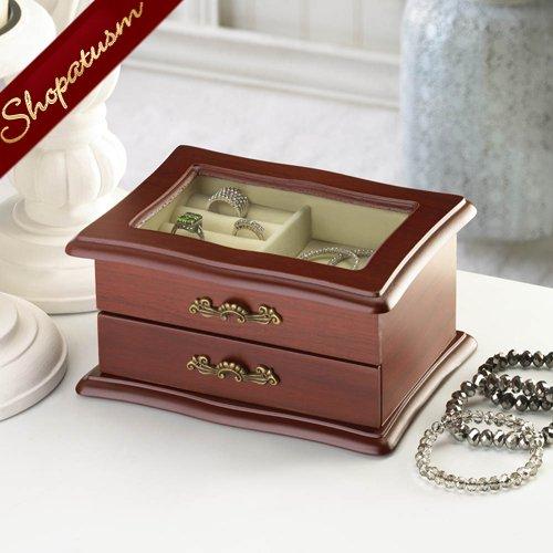 Image 1 of Window Wood Jewelry Keepsake Organizer Box