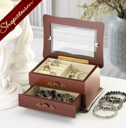 Window Wood Jewelry Keepsake Organizer Box