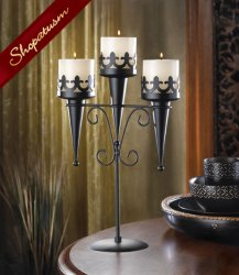 Dramatic Black Centerpiece Medieval Triple Candle Stand Holder