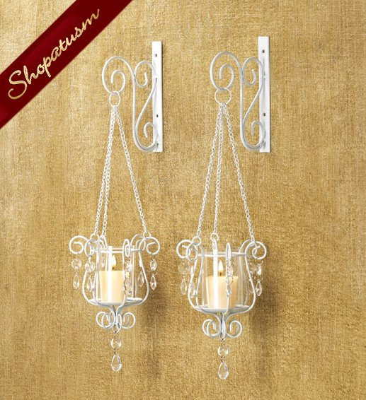 Hanging White Bedazzling Pendant Votive Wall Sconce Pair