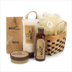 Bath Gift Basket, Gift Basket Set, Bamboo Sugarcane Bath Gift Basket, Eco-Nomy
