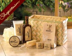 Gift Basket Set, Deluxe Bath Gift Basket, Bamboo Sugarcane Gift Set, Eco-Nomy