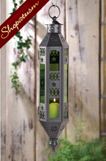 Emerald Green Candle Lantern Serenity Hanging Lamp