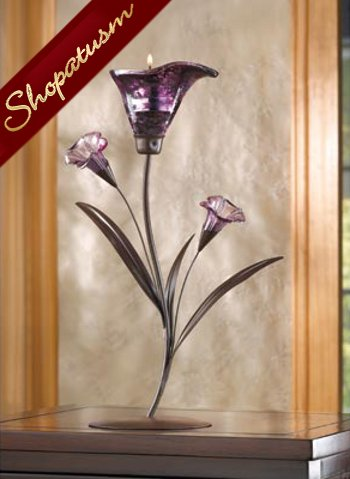 Purple Lily Twilight Bloom Flower Tealight Candle Holder