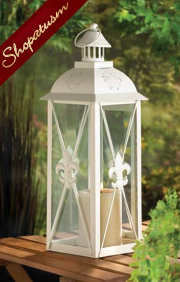 Image 0 of 20 Fleur De Lis White Centerpiece Pillar Candle Lantern