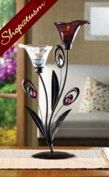 10 Centerpiece Dewdrop Amethyst and Pearl Lily Floral Candle Holder
