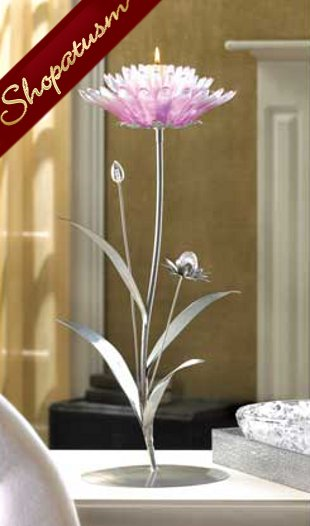Image 0 of Dramatic Pink Lotus Floral Silver Candle Holder Centerpiece