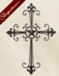 Thumbnail of Fleur De Lis Lone Star Metal Wall Cross