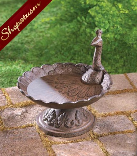 Rustic Art Deco Peacock Cast Iron Bird Bath