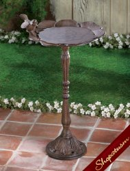 Rustic Enchanting Garden Cast Iron Bird Bath