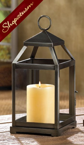 Image 0 of Brushed Silver Contemporary Square Candle Lantern Centerpiece