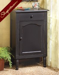 Shabby Distressed Black Wood Cabinet End Table Nightstand