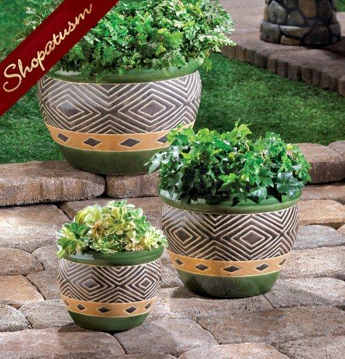 Jade Green Ceramic Indoor Outdoor Garden Planters Set of 3