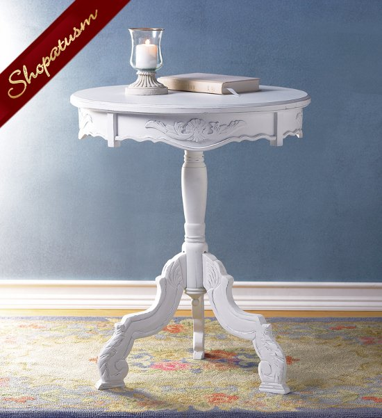 Shabby Distressed White Romantic Rococo Round Accent Table