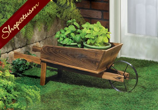 Country Flower Cart Wood Garden Yard Outdoor Planter
